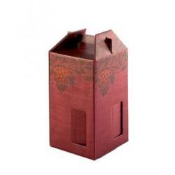 Confezione di cartone per 4 bottiglie - Rosso/Grappolo