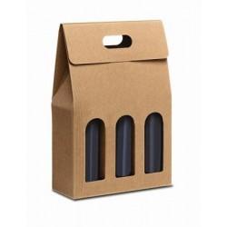 Confezione di cartone per 3 bottiglie - Avana