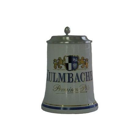 Kulmbacher con coperchio in peltro boccale ceramica 0.50cl
