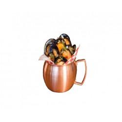 Boccale mug bombato con manico in acciaio inox e rame cl 42