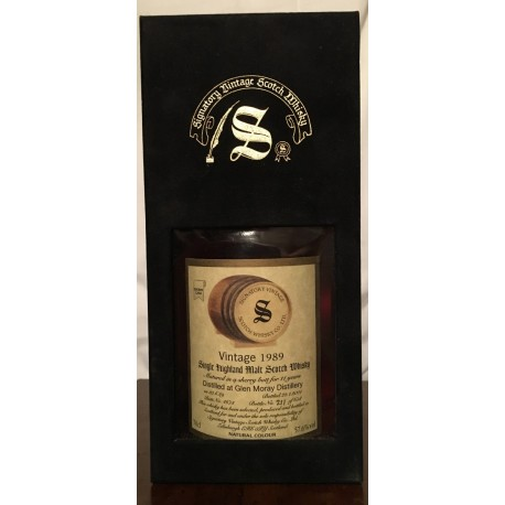 Glen Moray Distillery Signatory Vintage 1989 11yo in cofanetto di velluto nero 70cl