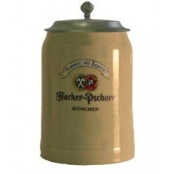 Hacker con coperchio in peltro boccale ceramica 0.50cl