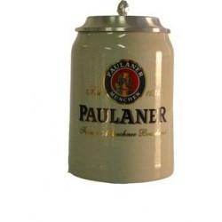 Paulaner con coperchio in peltro boccale ceramica 0.50 cl