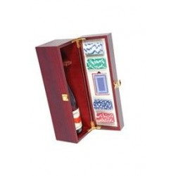 Cassetta in legno per 1 bottiglia con fiches e carte da poker